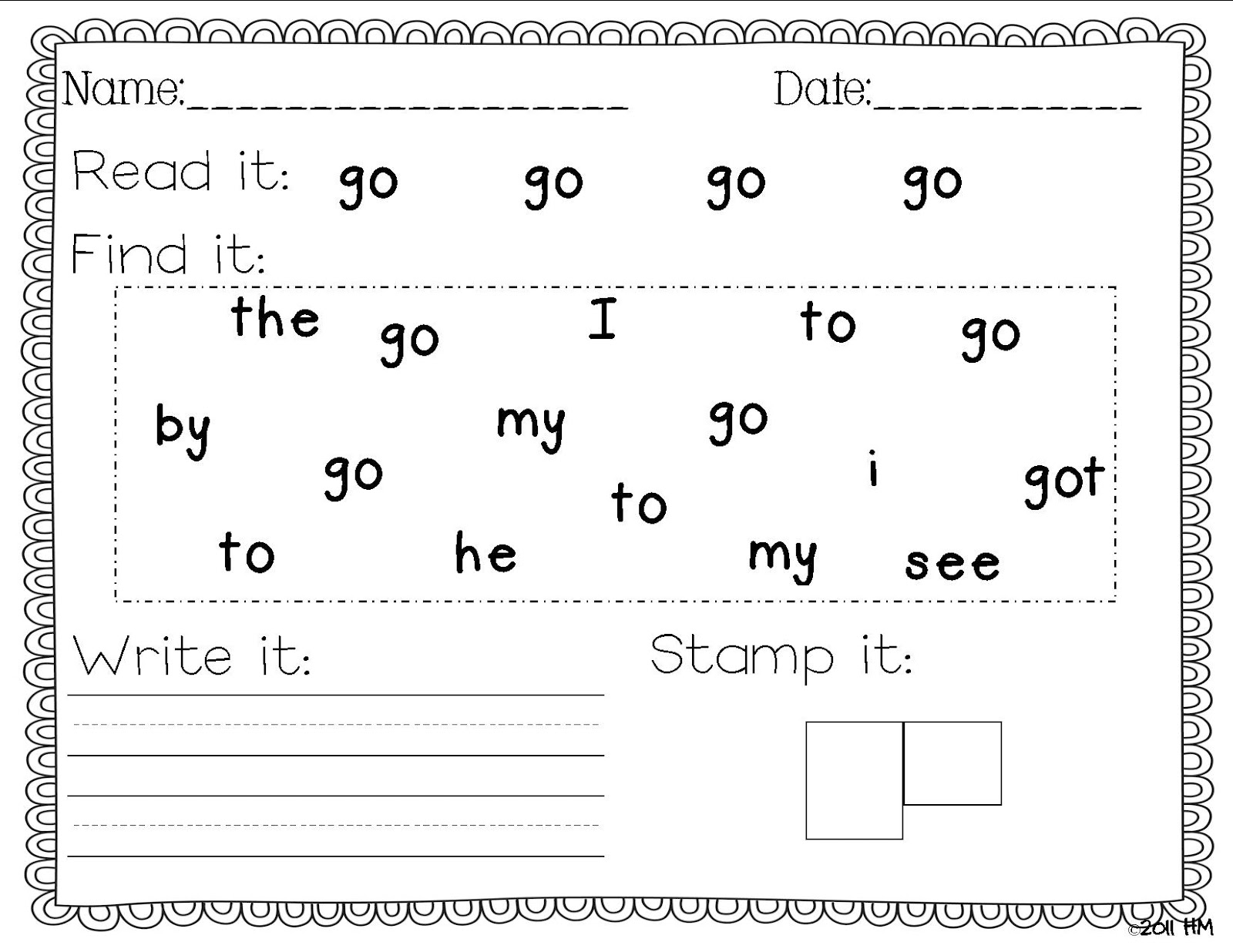 Sight Word Writing Practice - Miss Kindergarten