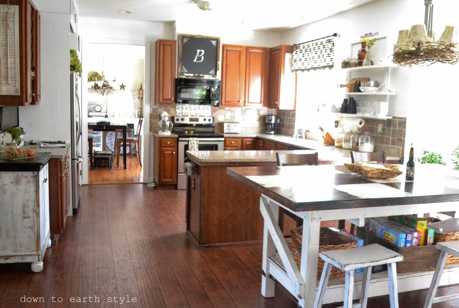 Earth Toned Painted Kitchen Cabinets
