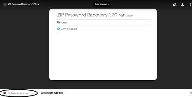 lupa password winzip