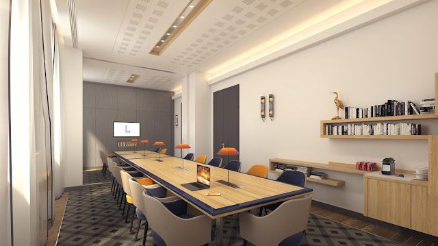 Perspective 3D d'espace de réunion