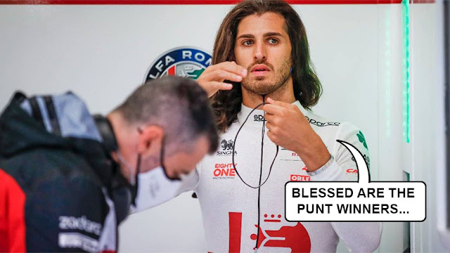 """Giovinazzi, looking a lot like Jesus, saying """"Blessed be the Punt winners"""""""