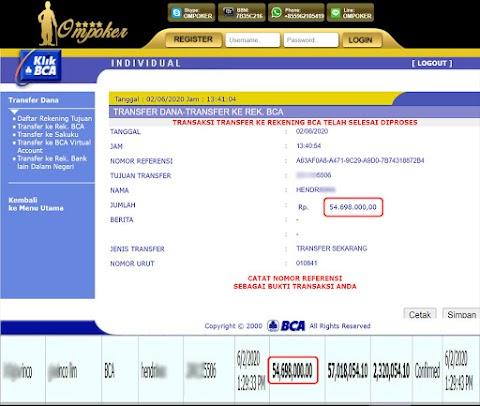 Selamat Kepada Member Setia Ompoker WD Rp 54.698.000,-