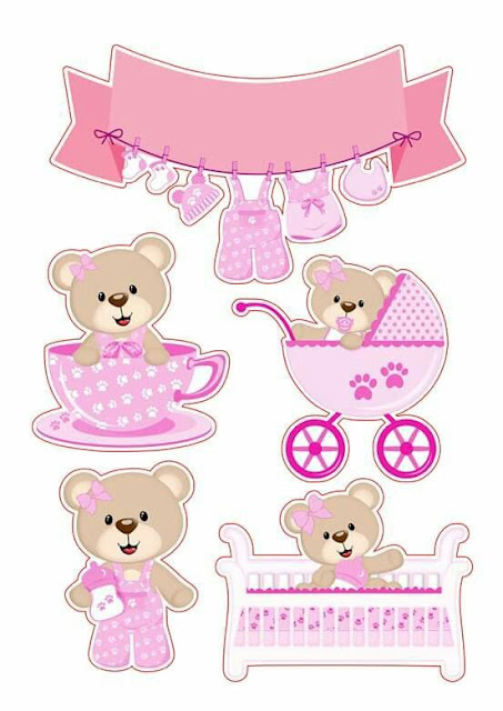 Bear Baby Girl Free Printable Cake Toppers.