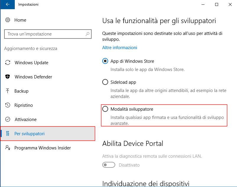 Windows 10, Modalità sviluppatore