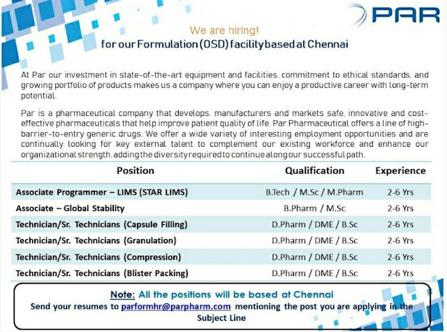 Multiple Job openings in Par Formulations | Apply Now