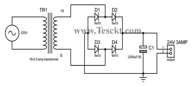 TDA2030 transistor amplifier power supply
