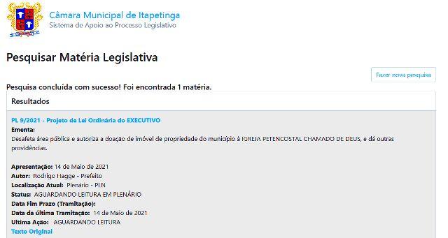Sistema de consulta pública da Câmara de Itapetinga SAPL