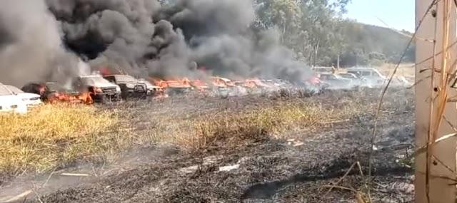 Senador Canedo: Incêndio atinge depósito de carros no Morada do Morro
