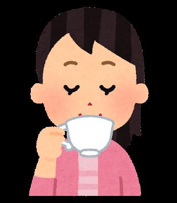 紅茶を飲む人のイラスト(女性)