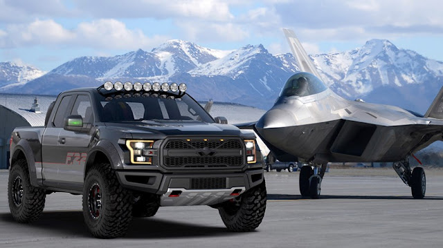 This spectacular one-off is the Ford F-22 Raptor, a unique pick-up inspired by military aviation