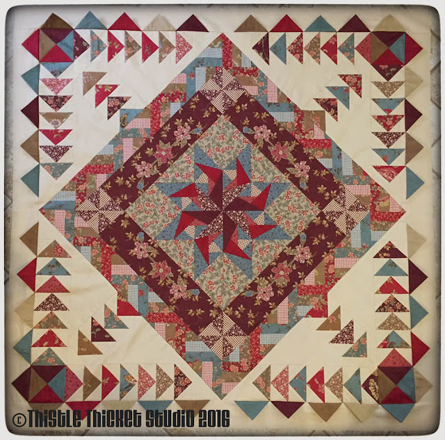 Thistle Thicket Studio, medallion quilt, prairie points, quilt guild challenge