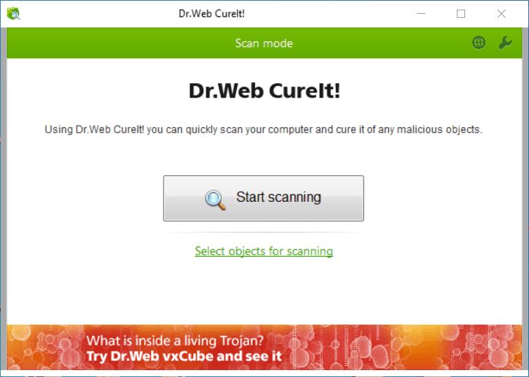 Dr.Web CureIt Main Interface Screenshot
