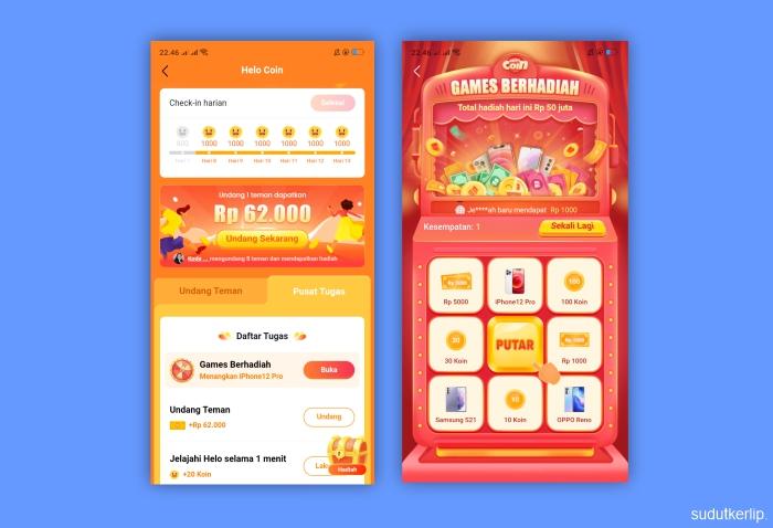 Poin dan Games Hadiah Aplikasi Helo