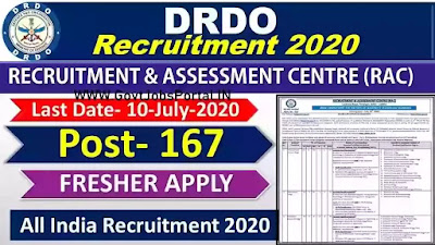 DRDO Scientist Recruitment 2020 - Govt Jobs for 167 Scientist Posts in DRDO -RAC