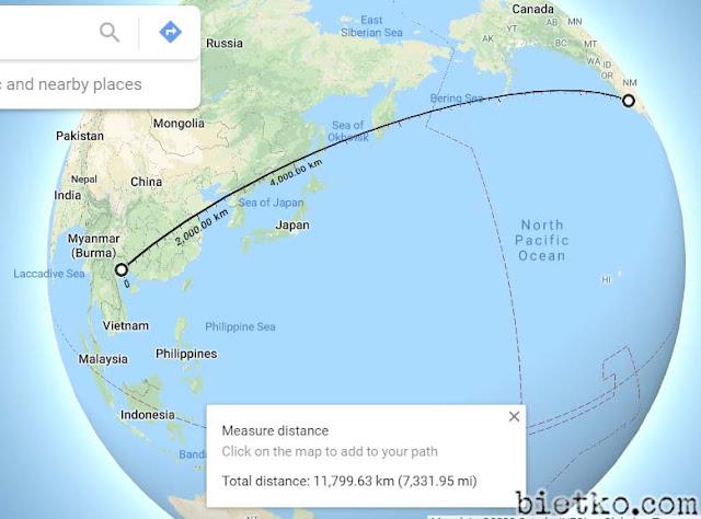 đo khoảng cách từ Hà Nội – San Francisco