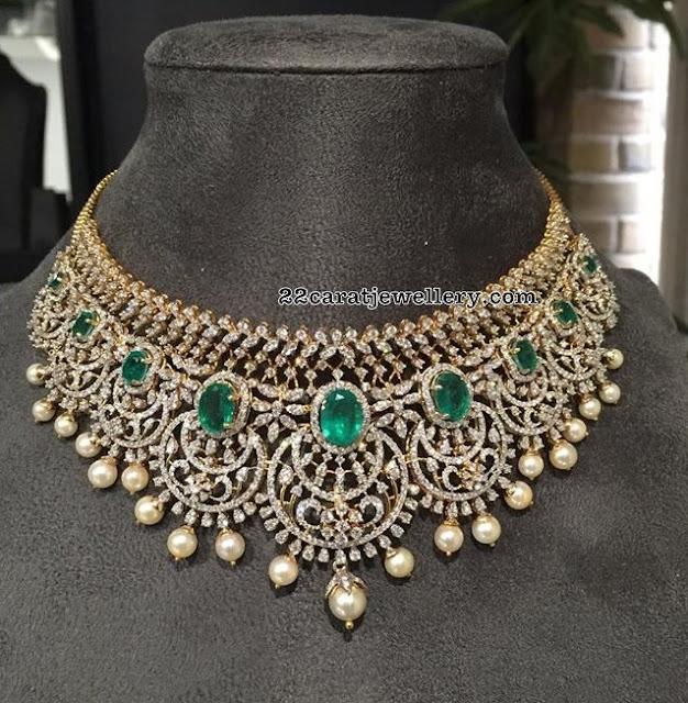 Broad Diamond Emerald Choker with Pearls