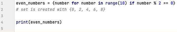 Set comprehension in Python
