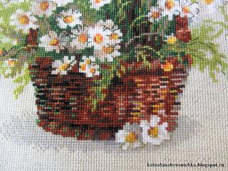 вышивка цветы в корзинке
