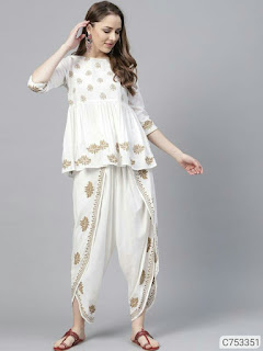 Women's Viscose Rayon Top and Dhoti Set
