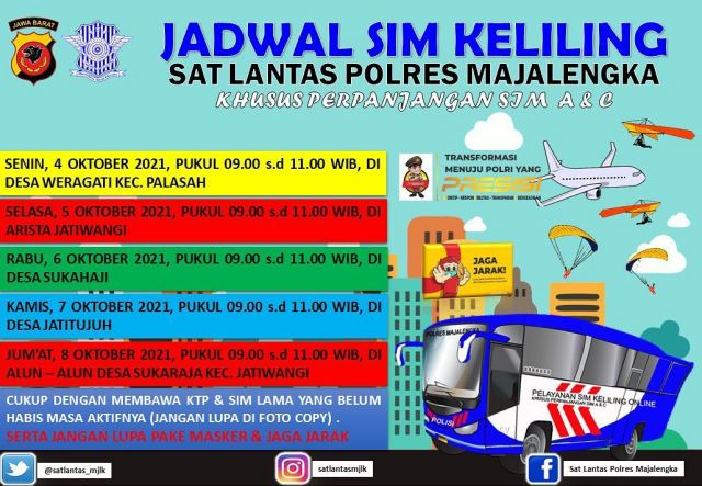 Jadwal SIM Keliling Majalengka Oktober 2021