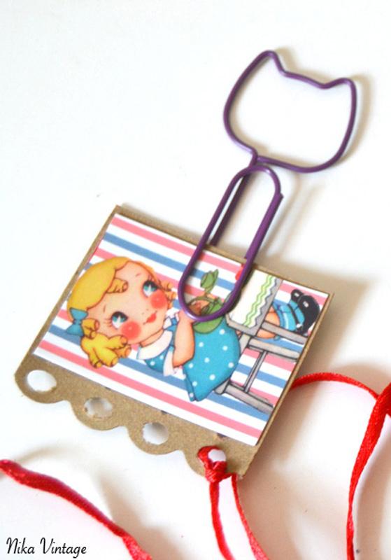 diy, marca - paginas, vintage, recotable niña,