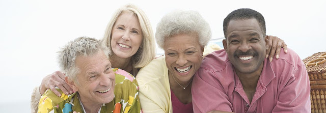 Group of older generation baby boomers enjoying life