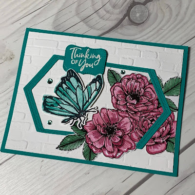 Floral Butterfly greeting card using True Love Designer Series Paper from Stampin' Up!