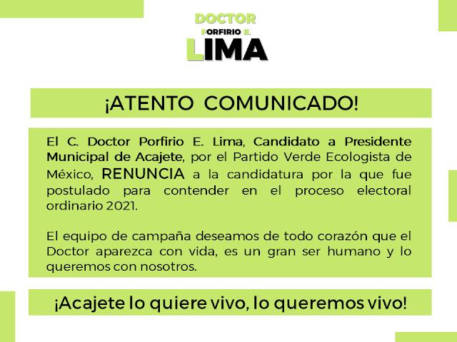 Está desaparecido Porfirio Lima, candidato del PVEM a la alcaldía de Acajete, Puebla