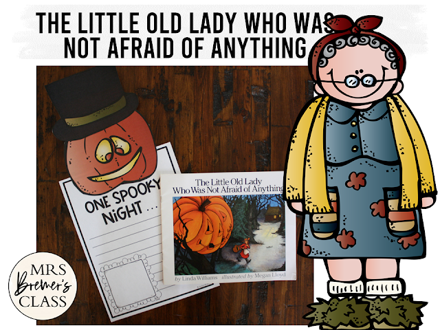 The Little Old Lady Who Was Not Afraid of Anything book study companion activities and craftivity for Halloween in K-1