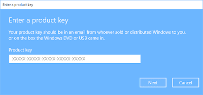 enter product key in windows 10