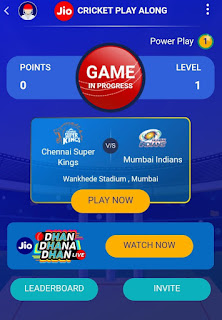 Jio Cricket Play Along live mobile game