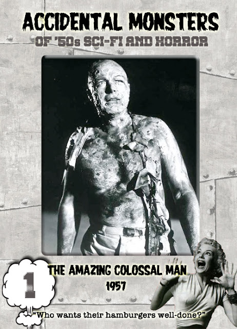 Accidental Monsters of the '50s trading card #1: The Amazing Colossal Man