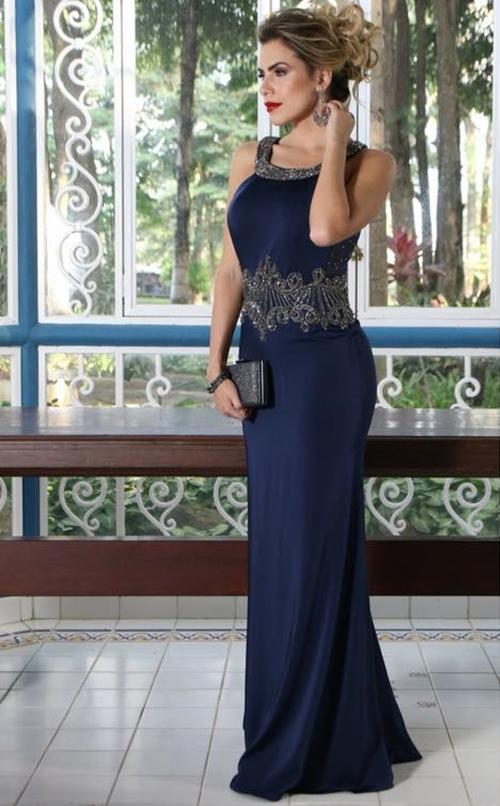 vestido de festa azul marinho madrinha