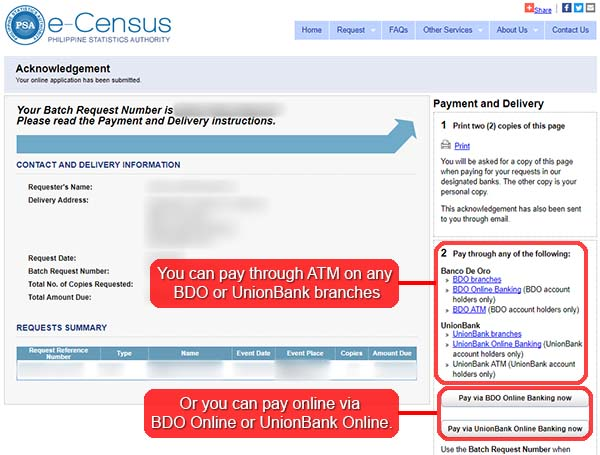eCensus acknowledgement and payment and delivery page