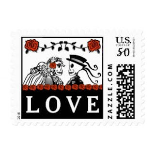 Halloween Wedding Skeletons Custom Postage LOVE Red Roses Horizontal Small Postage