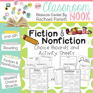 fiction and nonfiction reading choice boards