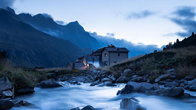 House, River, Mountains, Stones, Water, Nature