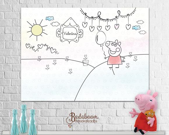 Peppa Pig, Painel, arte digital, aquarela, watercolor, festa infantil, arte personalizada, painel peppa pig, painel peppa pig aquarela