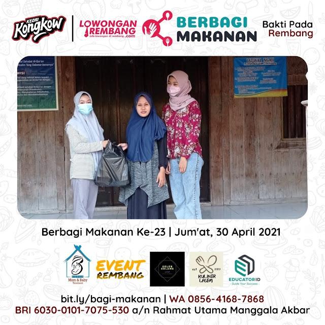 Dokumentasi Berbagi Makanan Ke-23 Dari Kedai Kongkow Rembang Dan Lowongan Rembang
