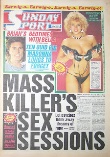 Front cover page of the Sunday Sport newspaper dated 16th August 1987