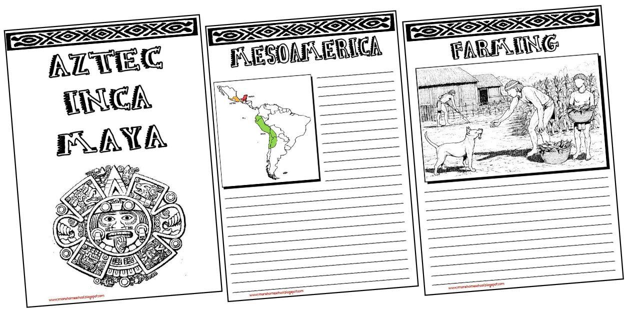 Iman 39 S Home School Aztec Inca Maya Notebooking Pages
