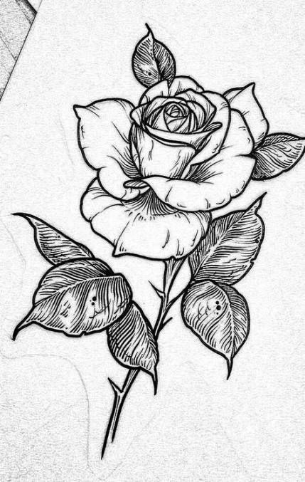 sketsa tato bunga