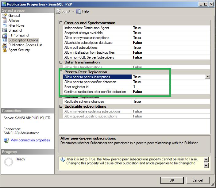 SQL Server Replication - Configuring Peer-to-Peer