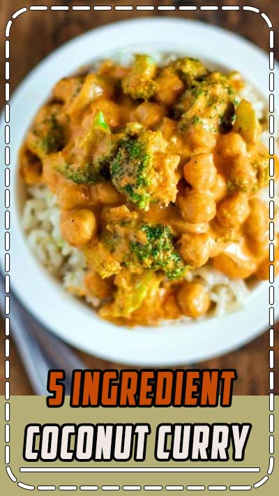 This 5-ingredient coconut curry has broccoli and chickpeas and a creamy coconut curry sauce that comes together super fast. #glutenfree #vegan #vegetarian #healthyrecipe #cleaneating