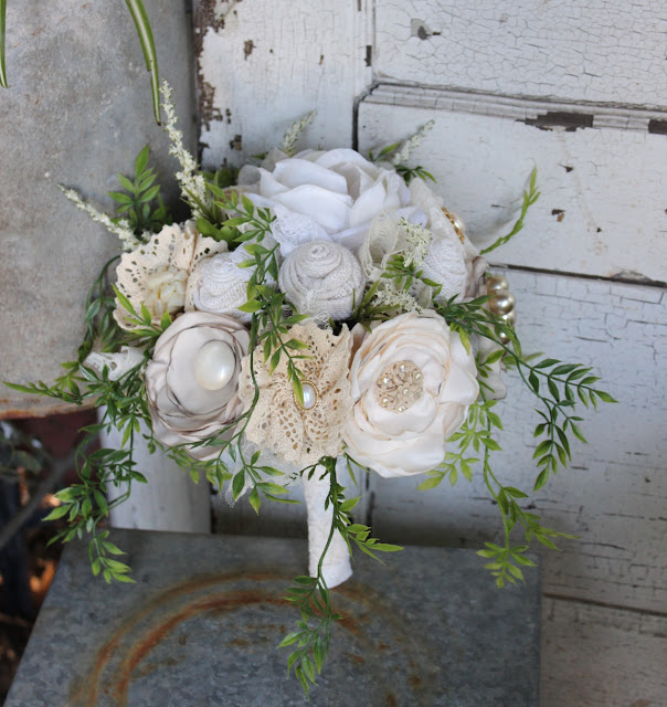 burlap, lace, satin flowers