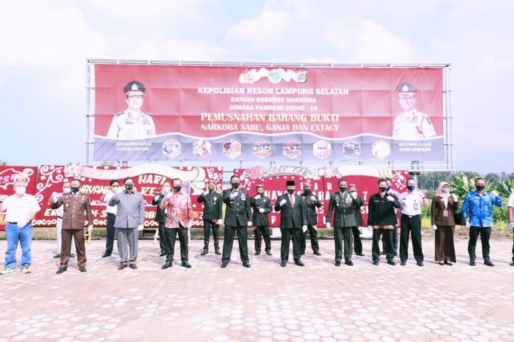 Kepolisian Resort Lampung Selatan Peringati HUT Bhayangkara ke-74 dan Pemusnahan BB Narkoba