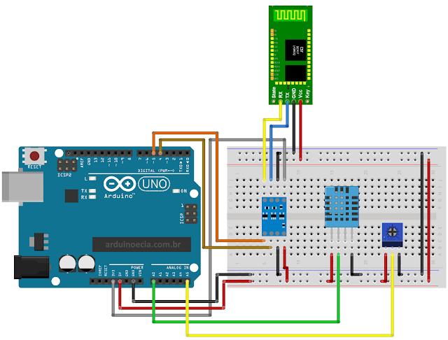 Circuito Arduino DHT11 HC05 e Potenciômetro