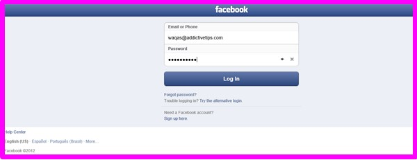 facebook touch login page
