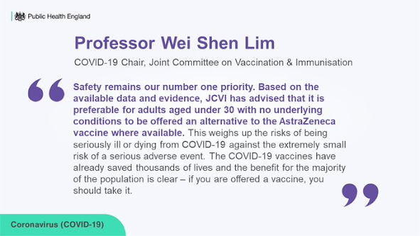 Prof Wei Shen Lim under 30's should be offered alternative vaccine to oxford astra zeneca