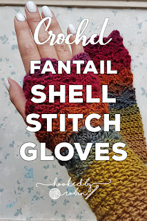 Fantail Shell Stitch Fingerless Gloves free pattern